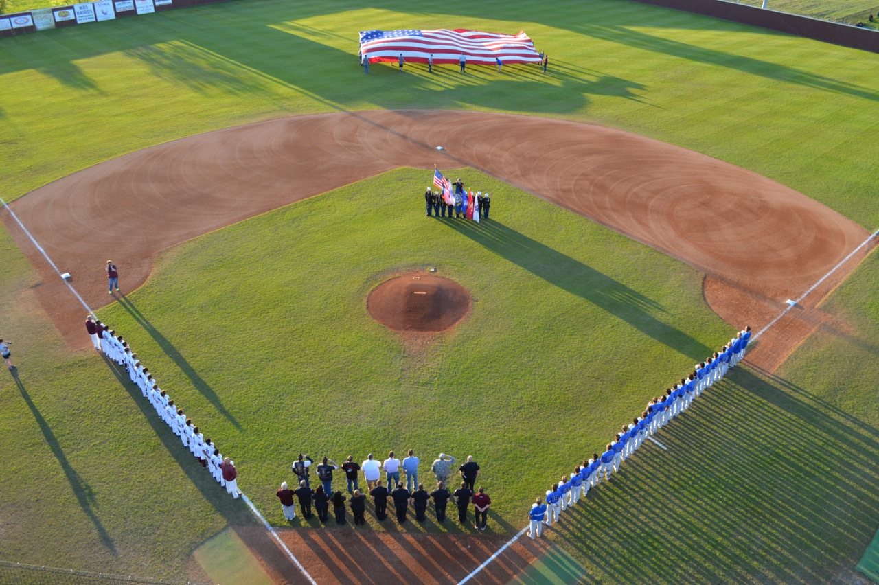 Aerial shot during national anthem