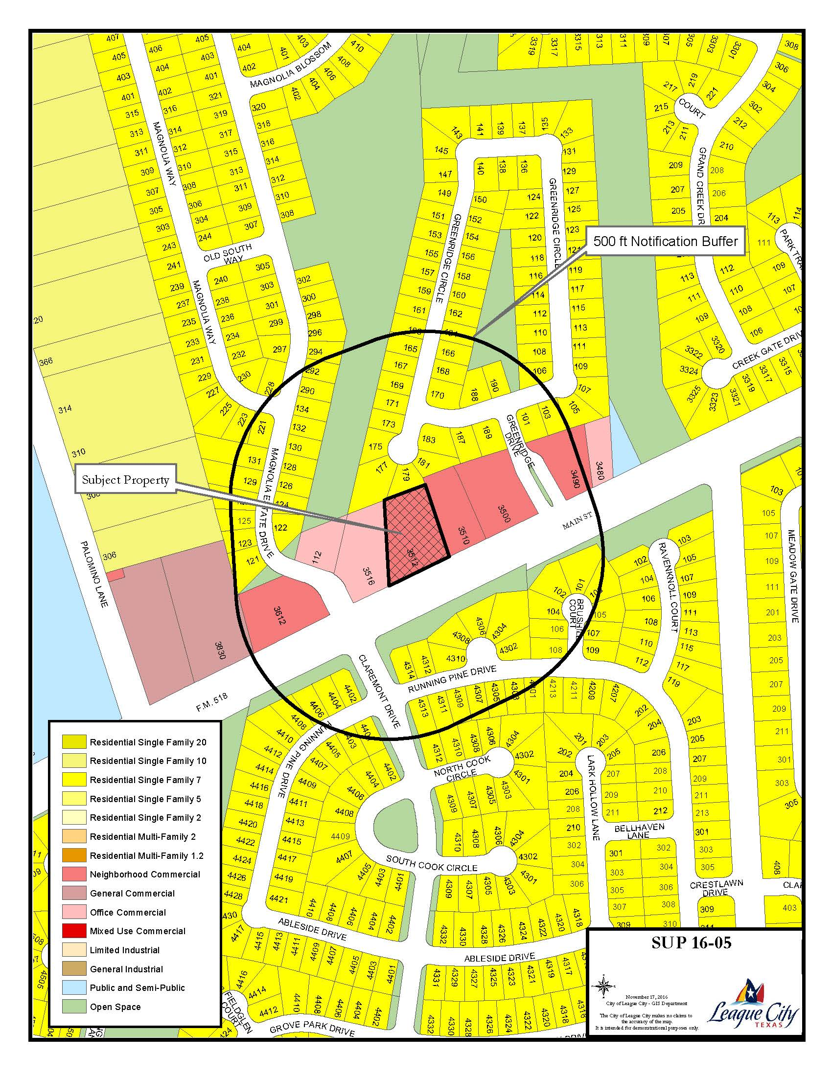 SUP 16-05 Zoning map