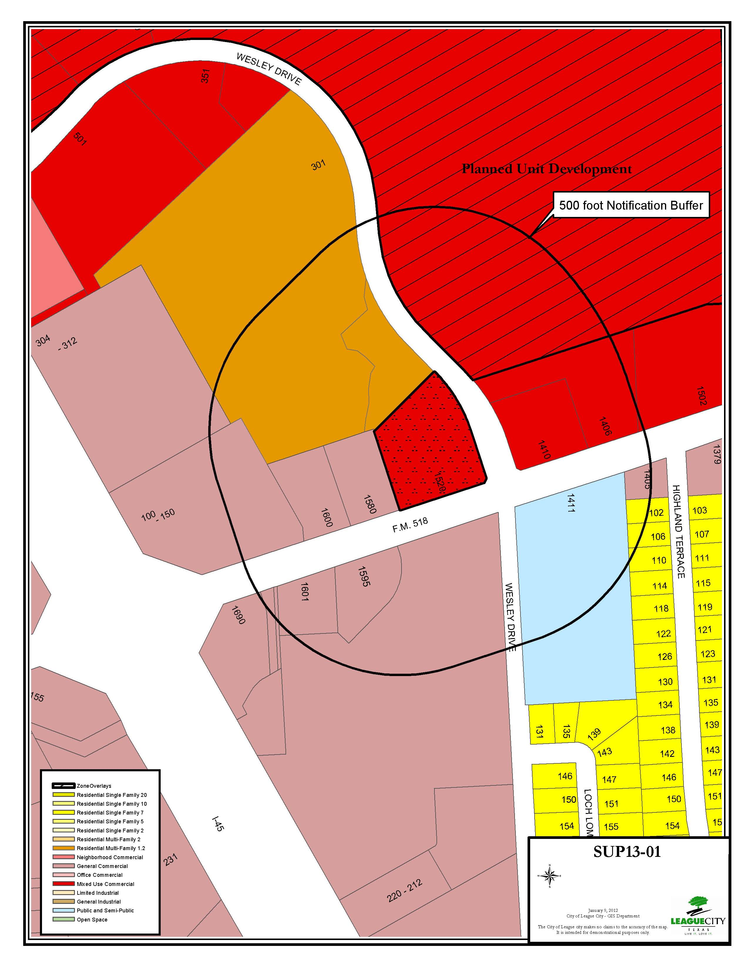SUP13-01 zoning map