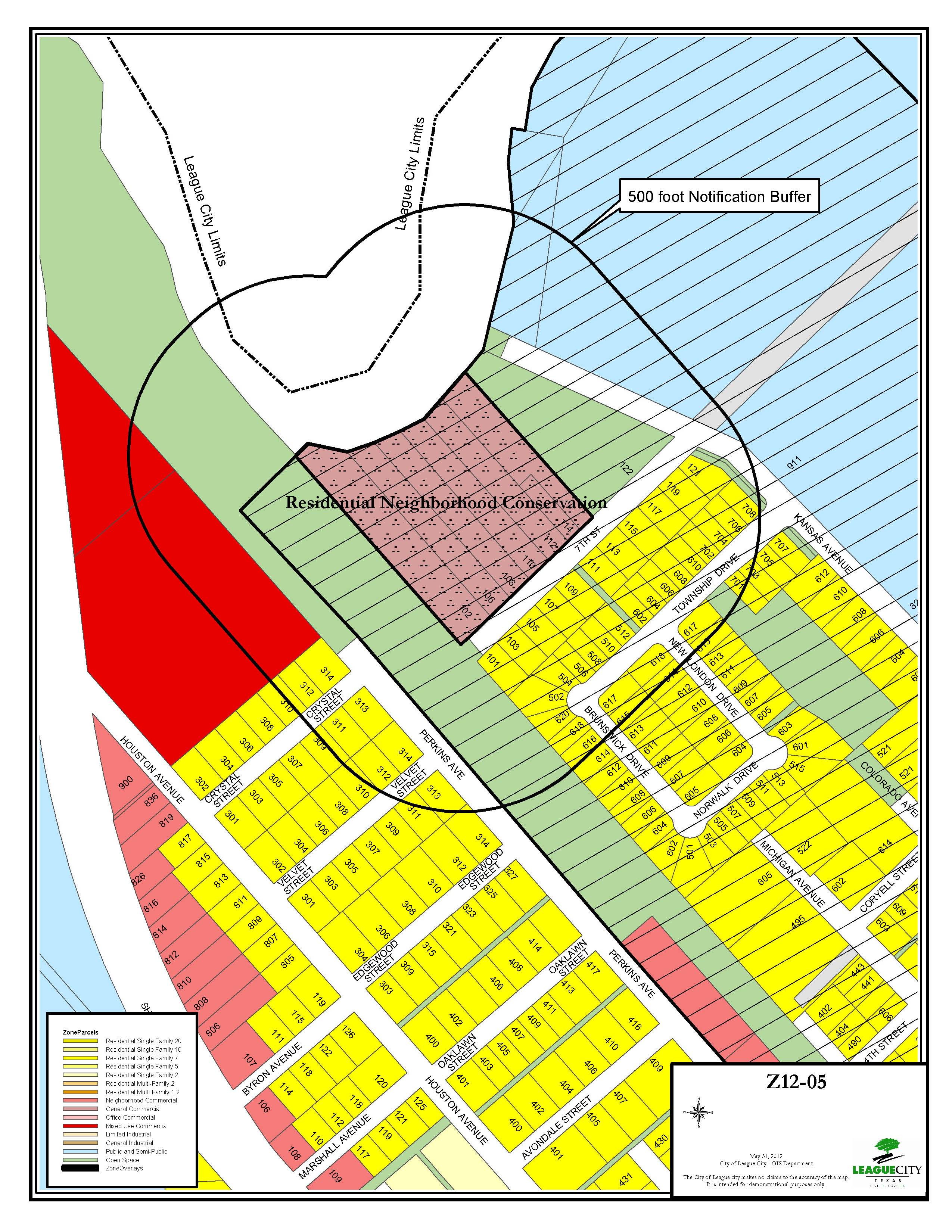 Z12-05 (7th Street Rezoning) zoning map