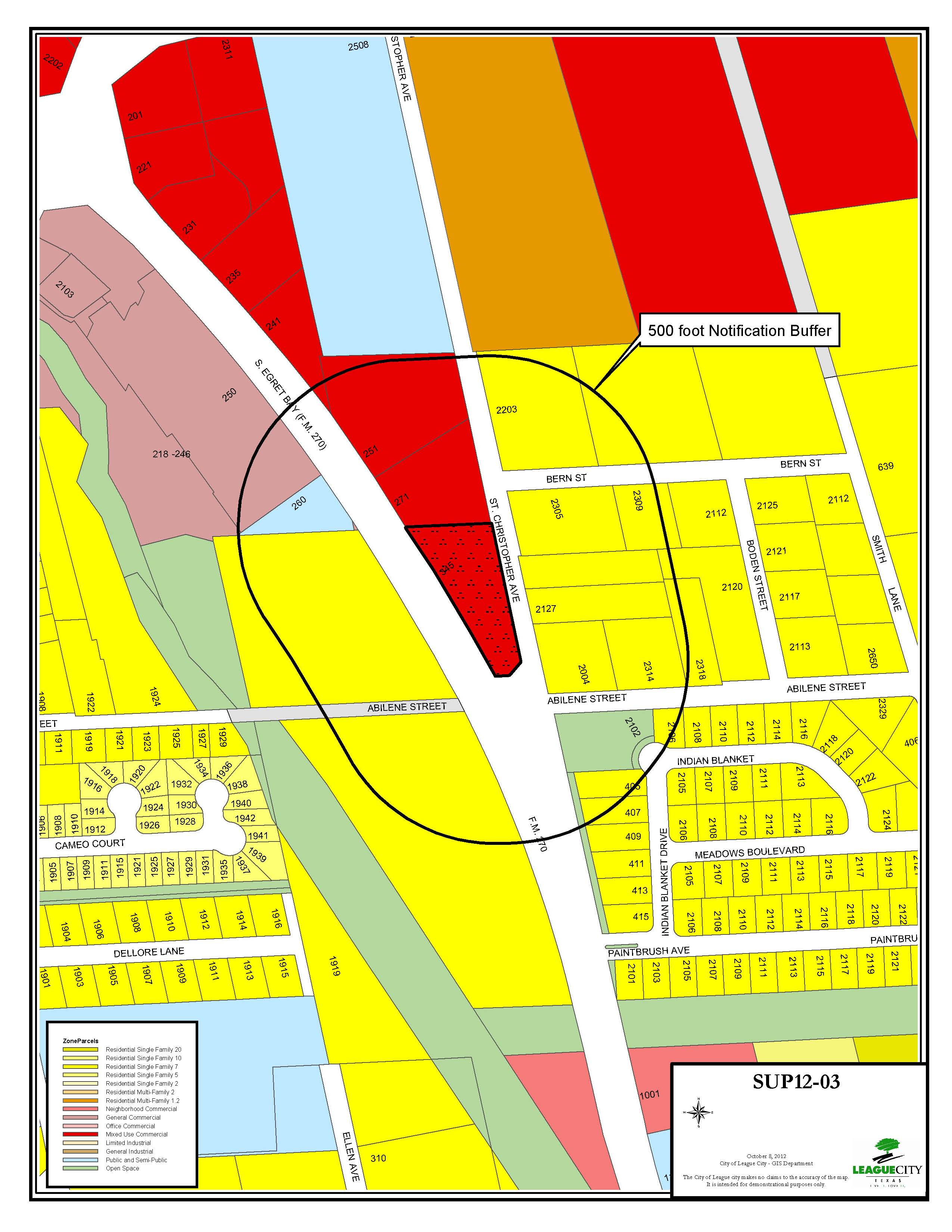 SUP12-03 (Gordon) zoning map