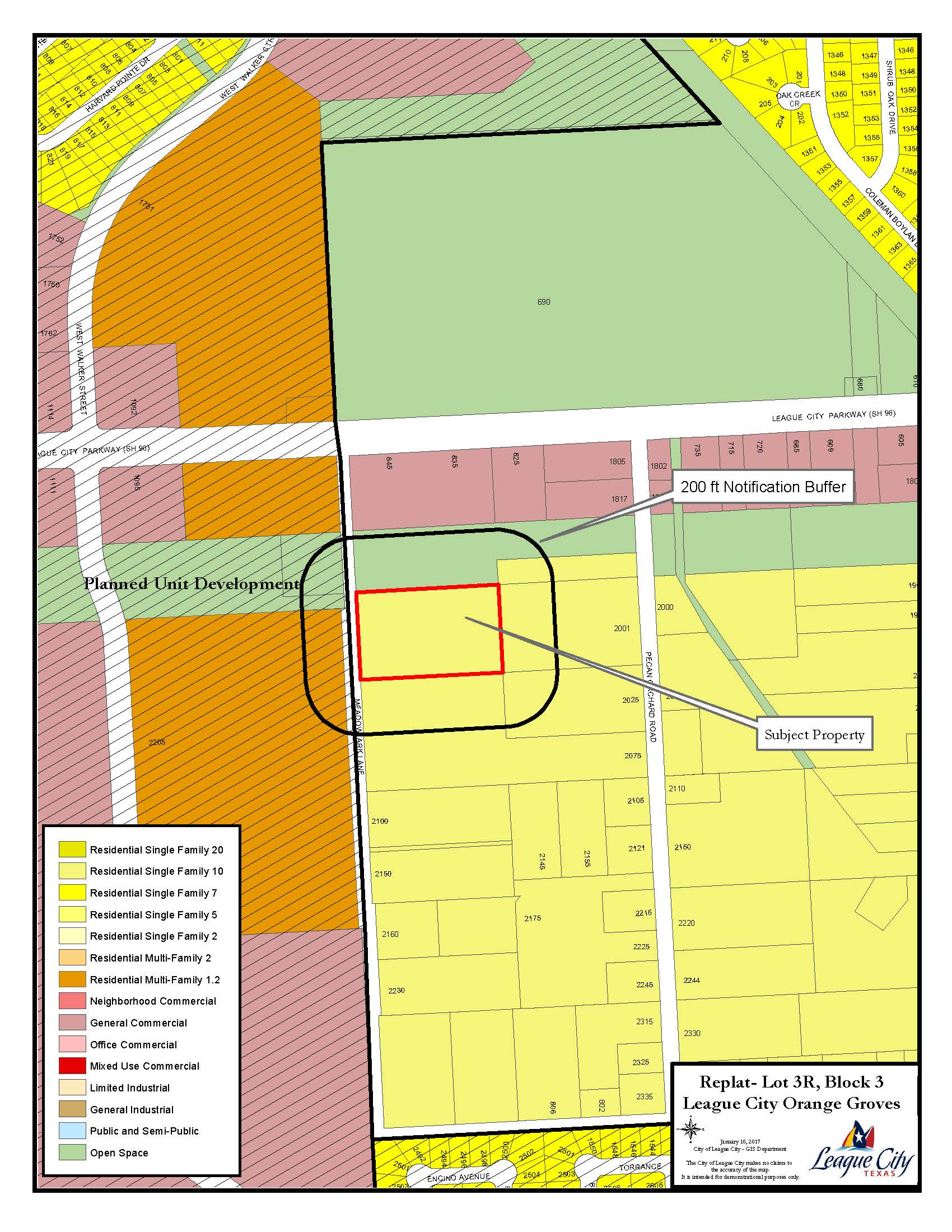 Replat Orange Groves Lot 3R Block 3 Zoning map