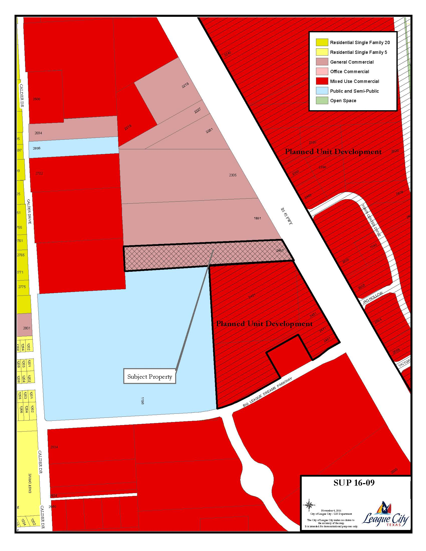 SUP16-09 (Joe Hudson Collision Center) zoning map