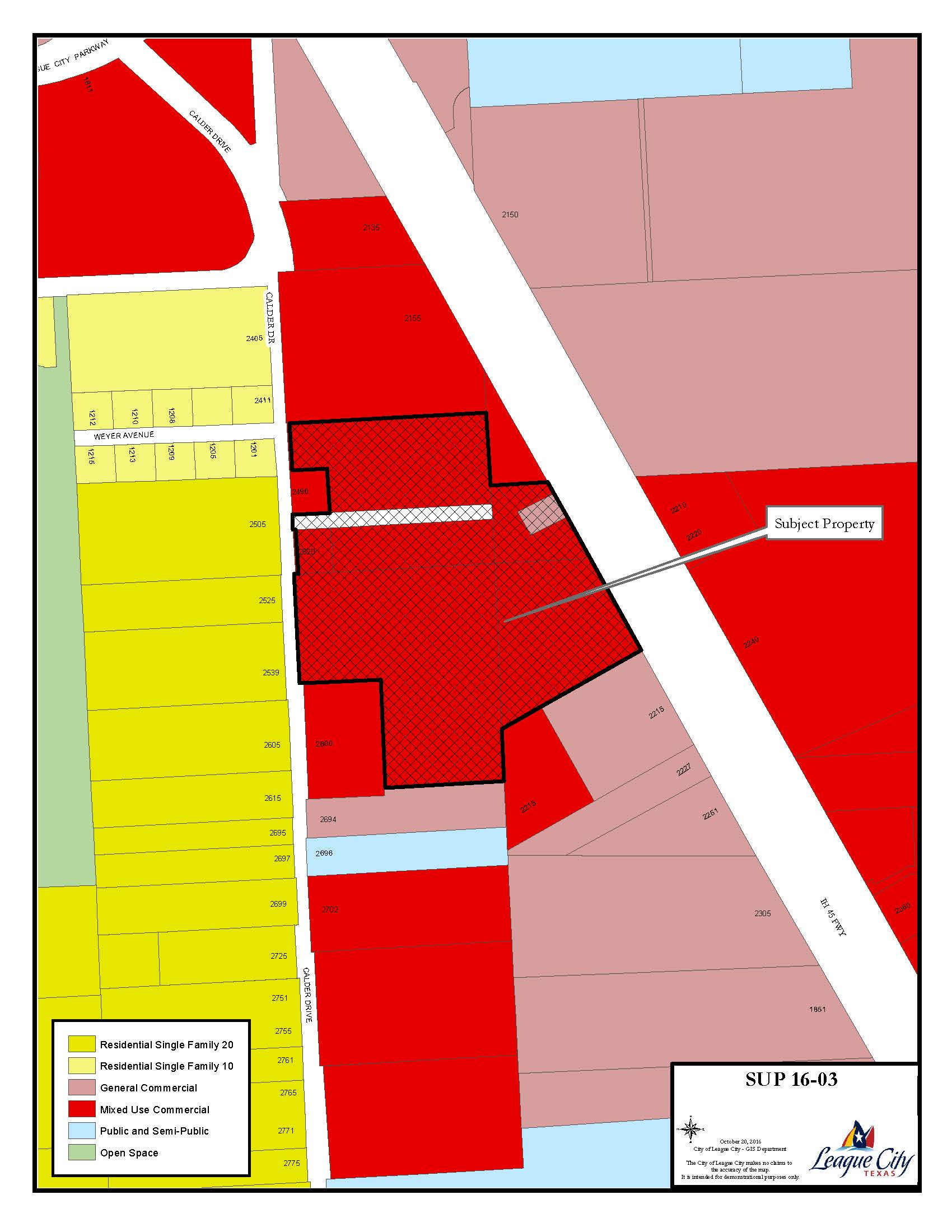 SUP 16-03 (John Eagle Honda of Clear Lake) Zoning map