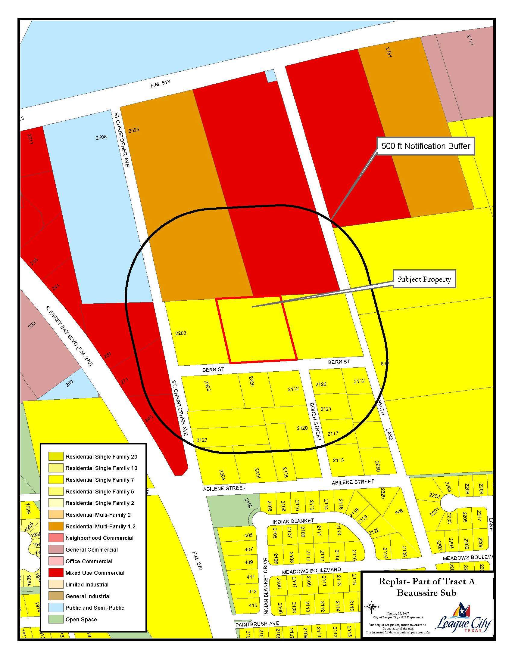 Beaussire Sub Replat Zoning map
