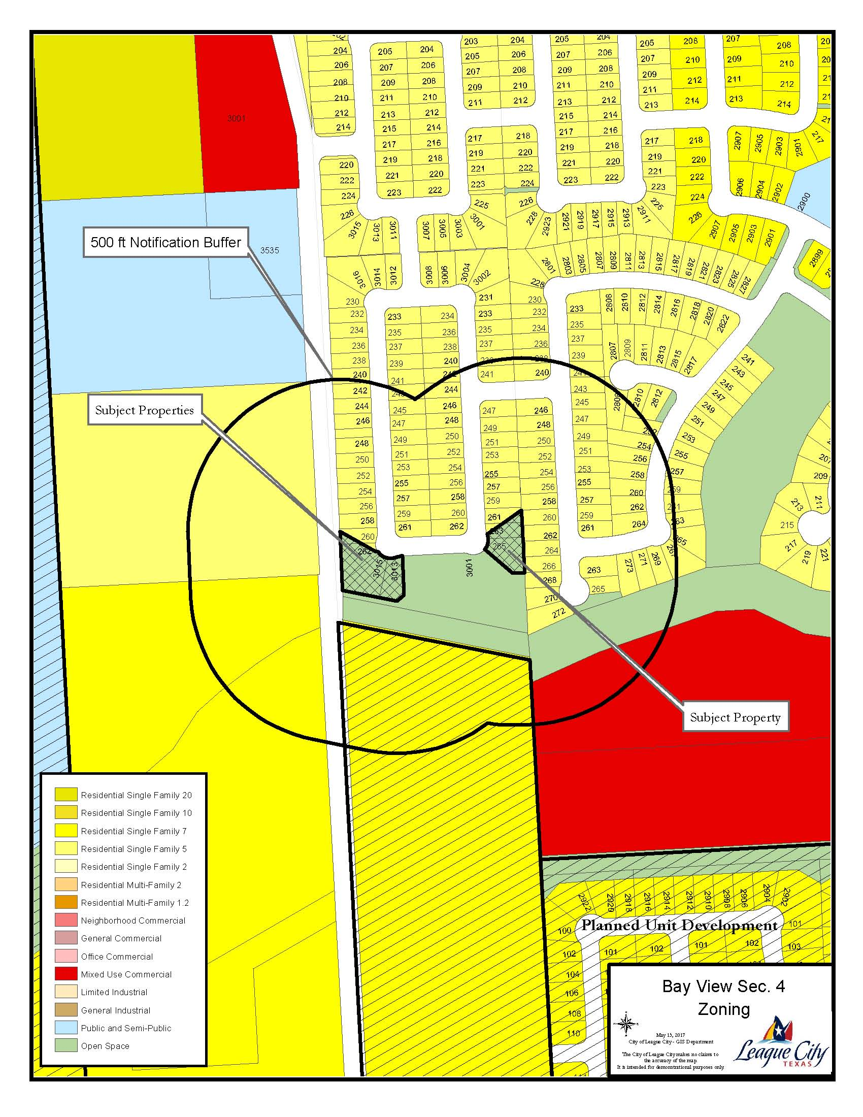 Zoning map of Bay View, Section 4