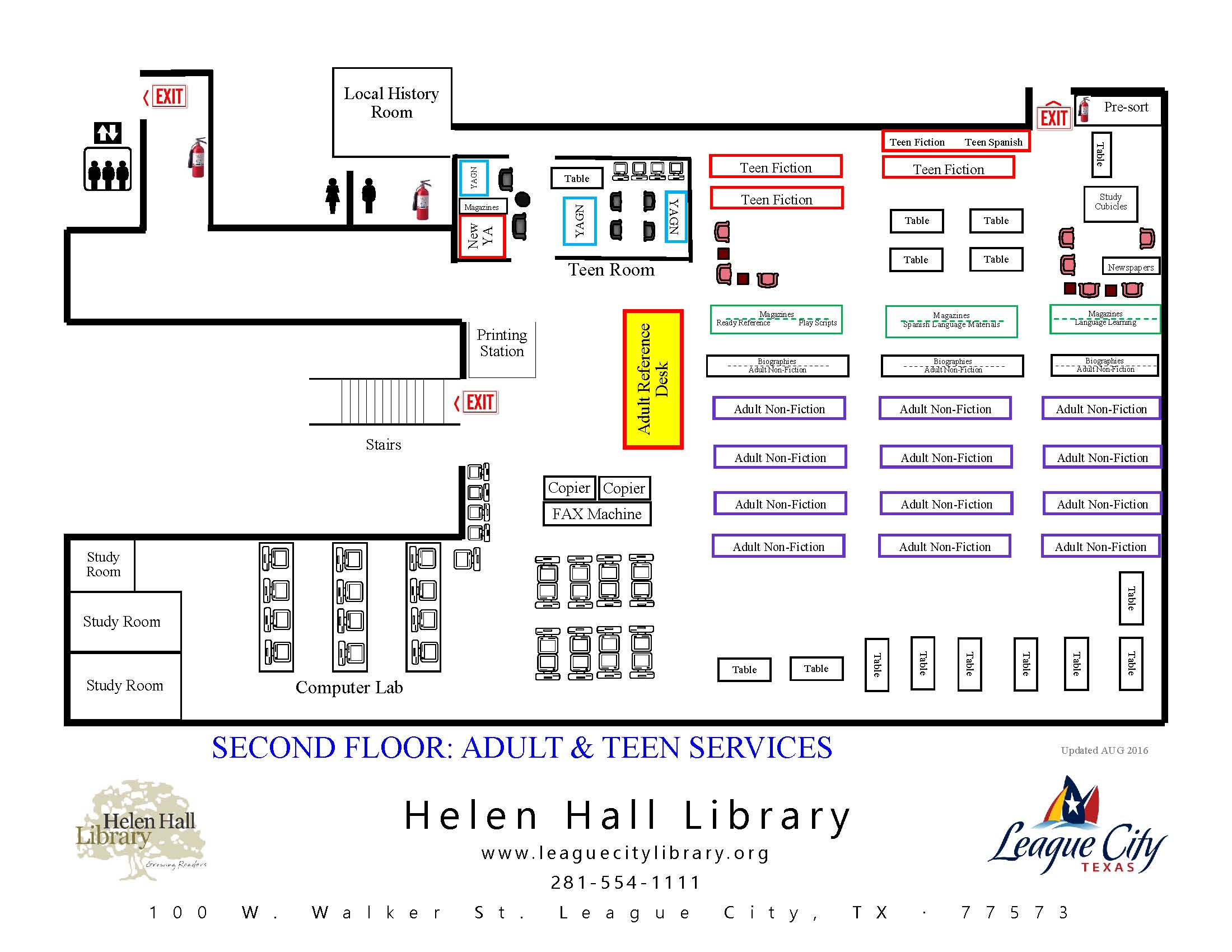 Map of Second Floor Adult and Teen Services