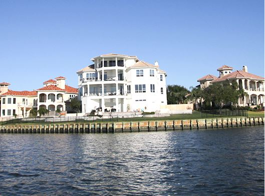Houses on waterfront