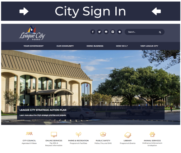 City Sign-In Screenshot of City's Homepage