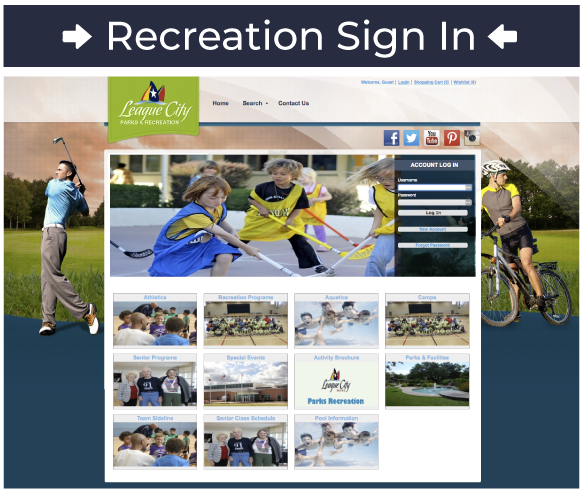 Recreation Sign-In Screenshot of Recreation Homepage