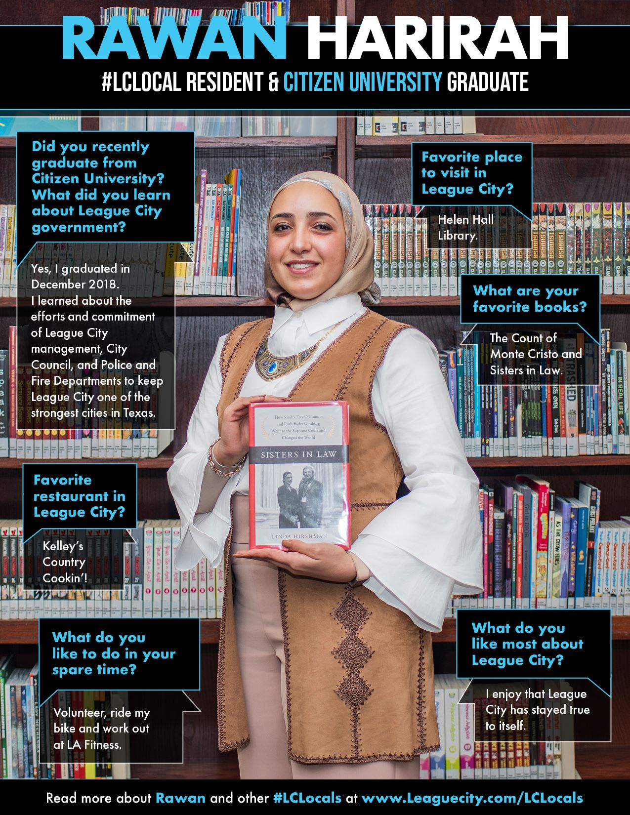 woman wearing a scarf posing with a book