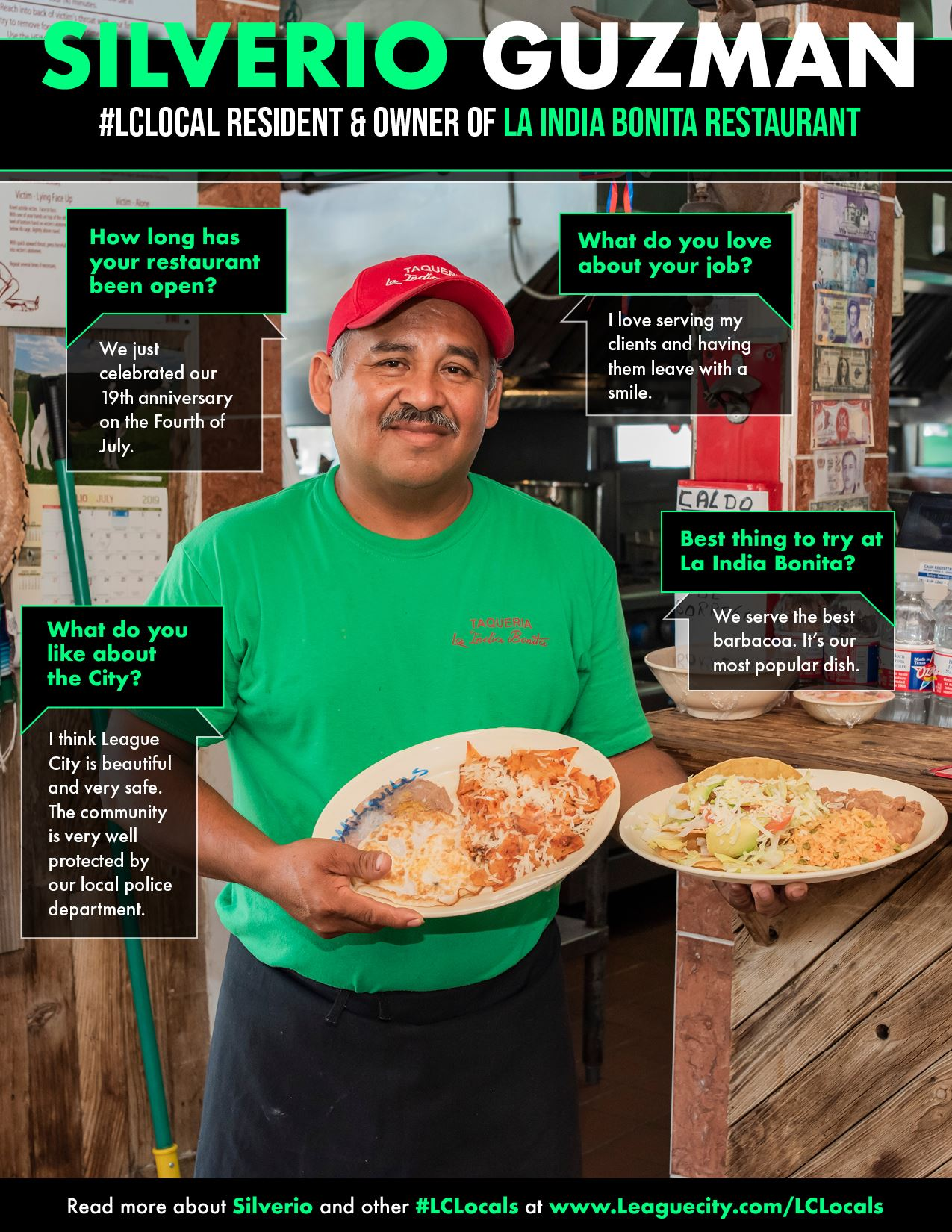 man posing with a couple of mexican dishes
