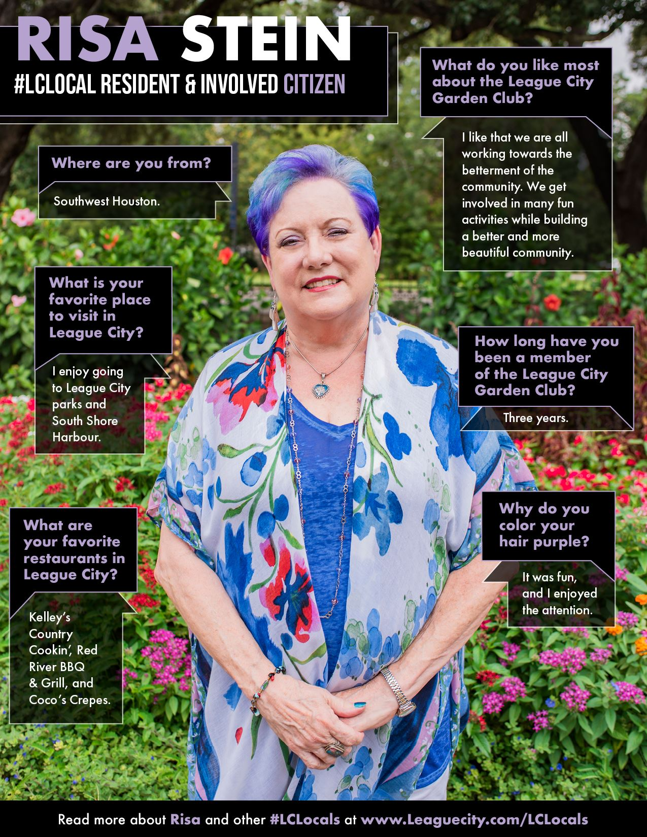 blue haired woman posing in front of garden
