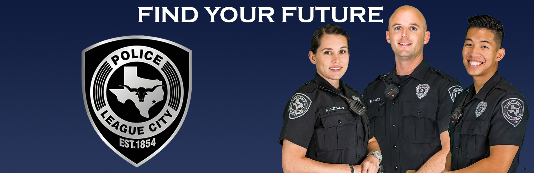 Find your future banner with three police officers
