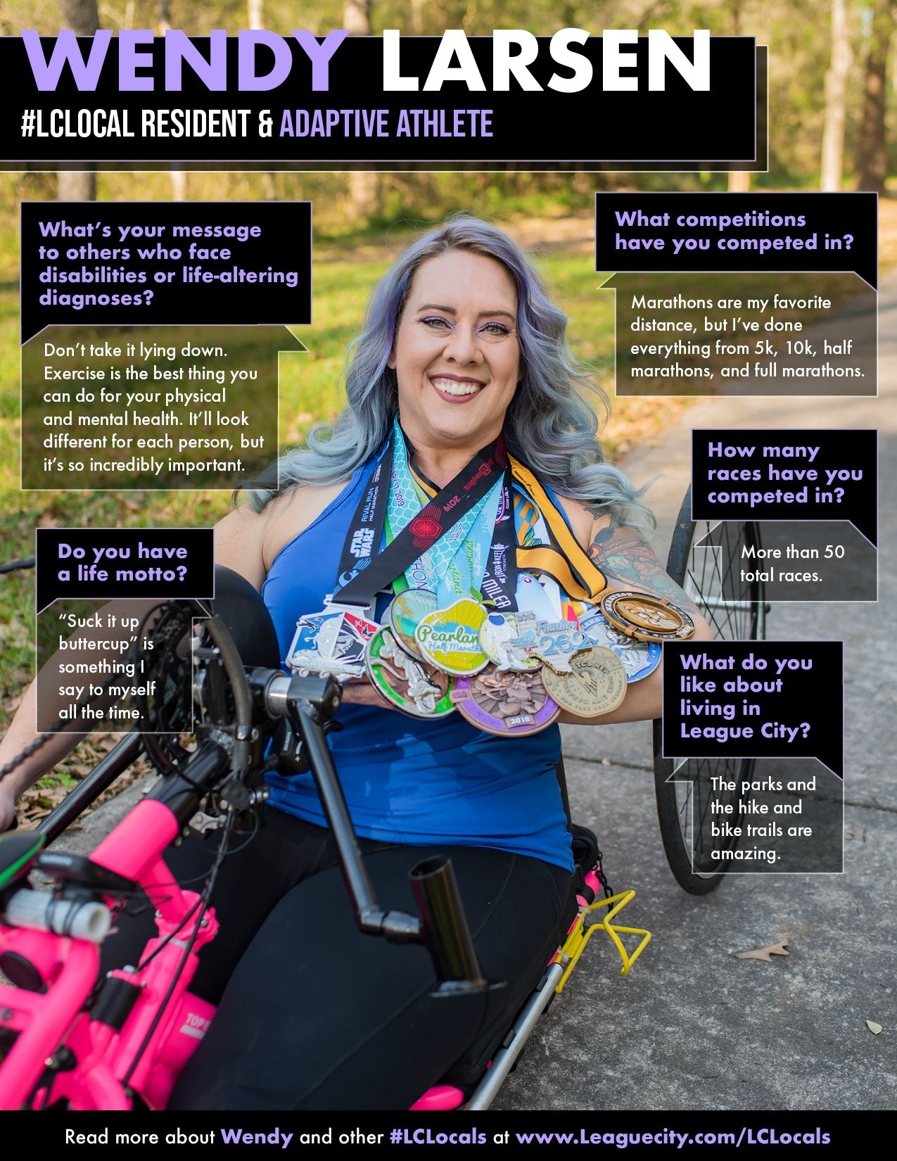 a woman with purple hair posing in with medals in her handcycle