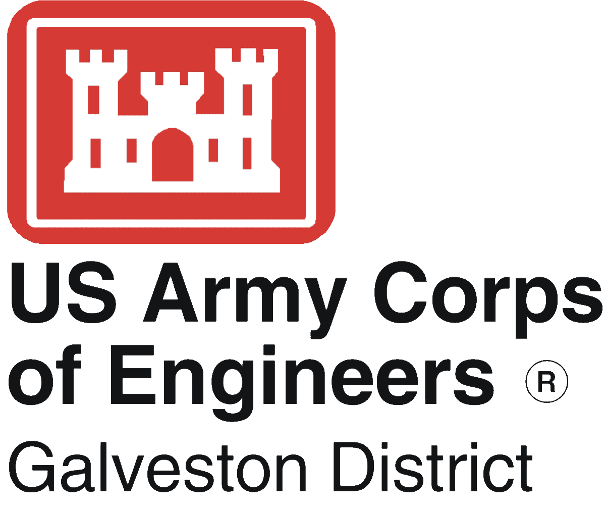 USACE Galveston Castle Red Logo