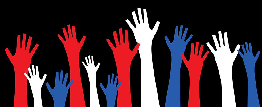 a set of red, white and blue hands raised into the air
