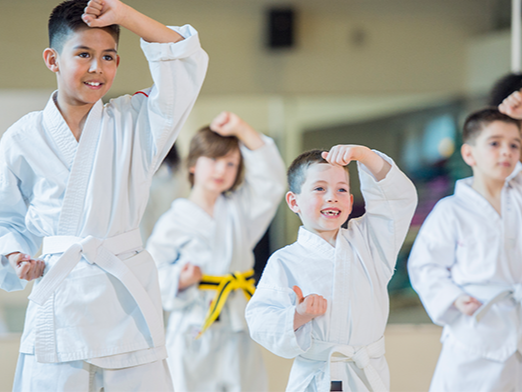 Kids participating in Karate