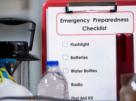 Emergency preparedness supplies and checklist