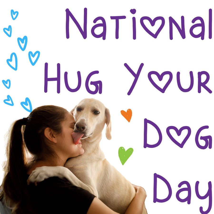 Lady hugging her dog. text National Hug Your Dog Day.