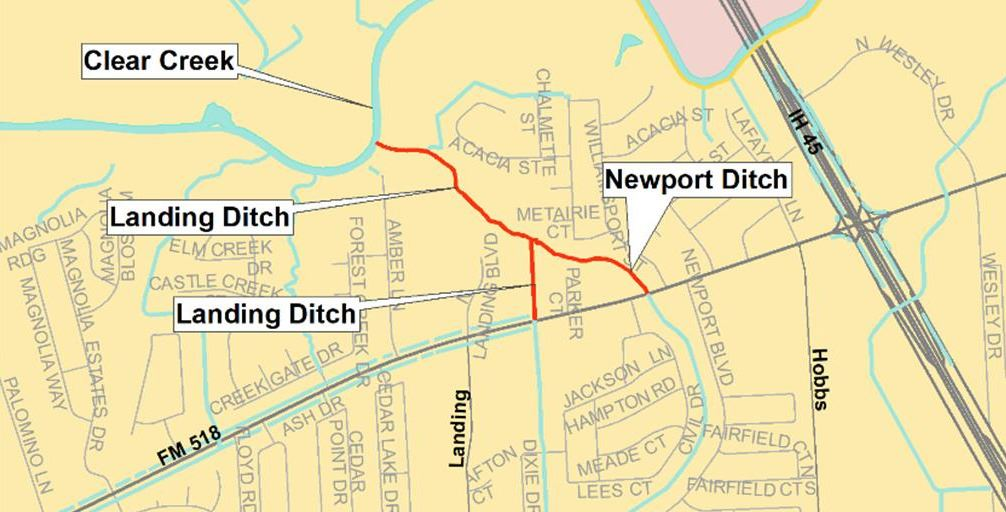Map of clear creek, landing ditch, and newport ditch project limits.