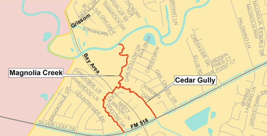 Map of Magnolia Creek and Cedar Gully project limits.