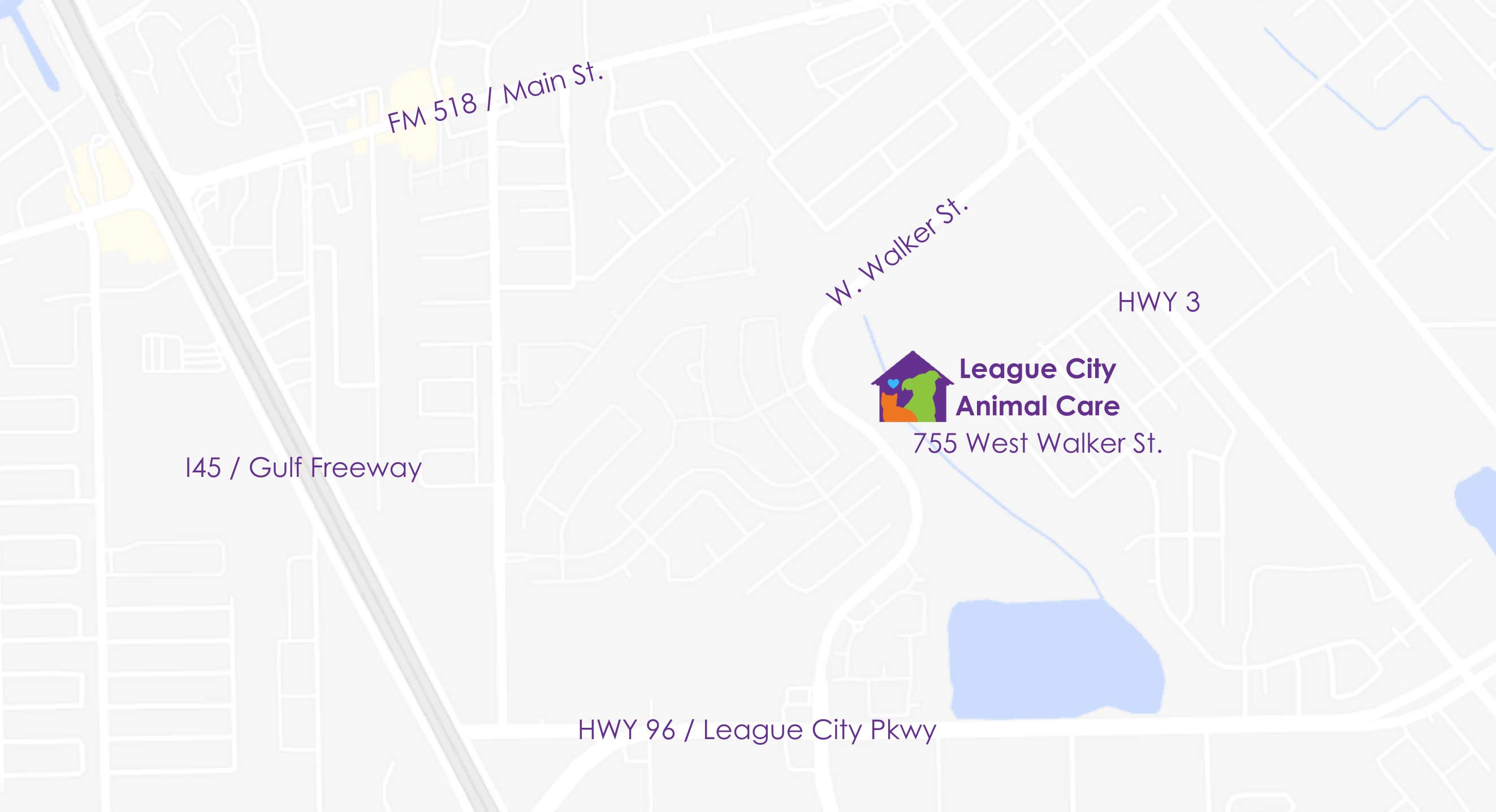 Map of League city animal care and adoption center.
