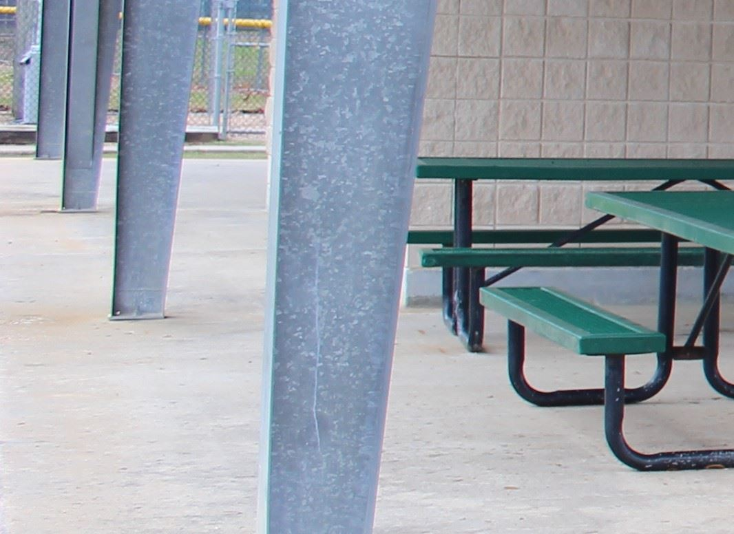 Picture of a bench under a pavilion