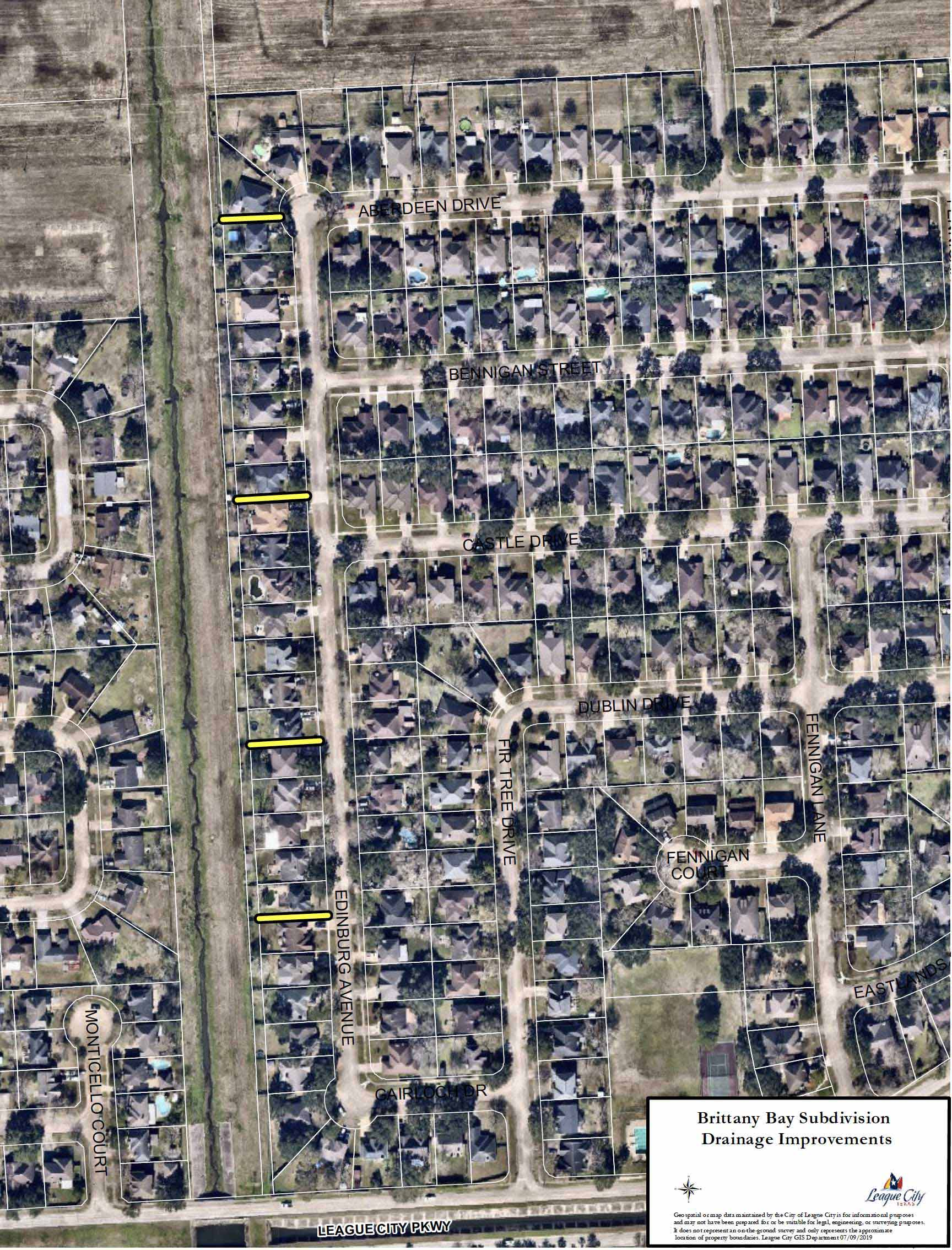 Brittany Bay Subdivision Drainage Improvements aerial map
