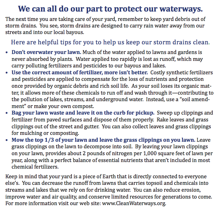 Photo of how we can do our part to protect our waterways