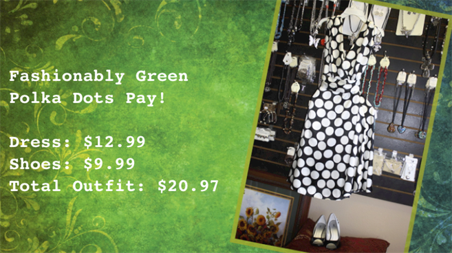 Photo of fashionably green polka doted dress.